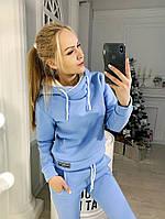 Женский спортивный костюм с начесом и мехом внутри капюшона