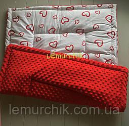Плюшевый плед Minky с хлопковой подкладкой, красный