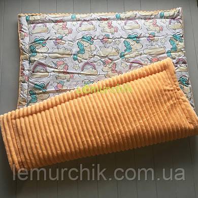 Плюшевый плед Minky с хлопковой подкладкой, оранжевый