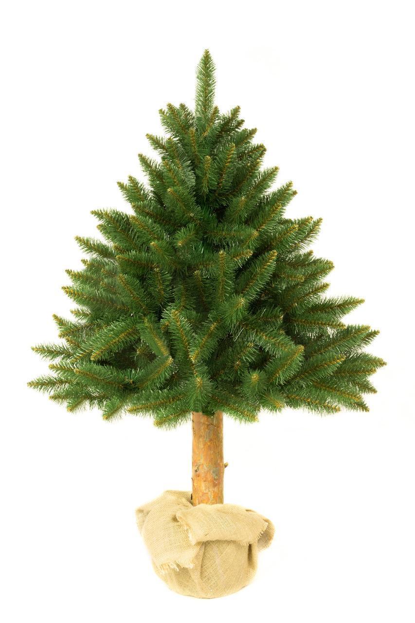 Искусственная новогодняя елка на натуральном стволе 120 см + гирлянда в подарок