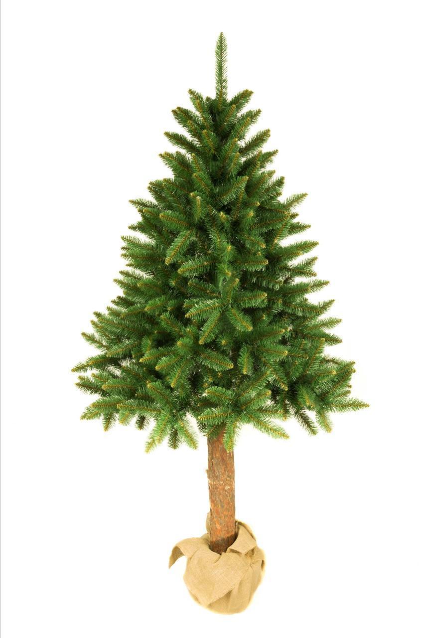 Искусственная новогодняя елка на натуральном стволе 220 см + гирлянда в подарок