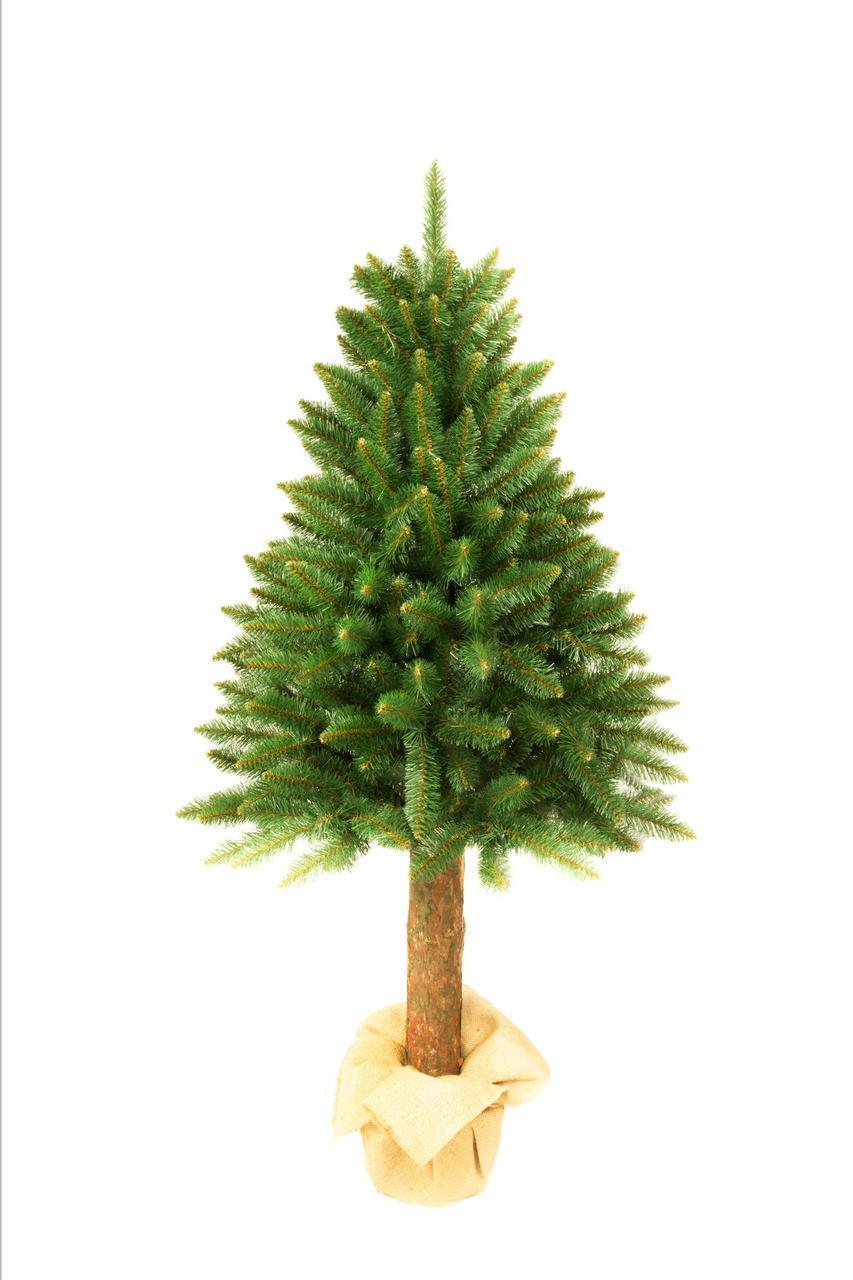 Искусственная новогодняя елка на натуральном стволе 160 см + гирлянда в подарок