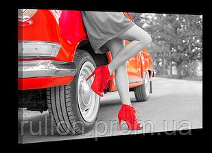 """Картина на холсте YS-Art XP128 """"Женщина и автомобиль"""" 50x70"""