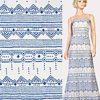 Марлевка белая в синий орнамент, ш.142 ( 12801.001 )