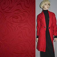 Жаккард полушерсть пальтовый с ворсом абстракция красный, ш.150 (13011.001)