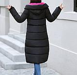 Удлиненная курточка - пальто, теплая зимняя, черная с розовым подкладом., фото 6
