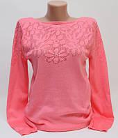 Женская кофта, джемпер, пуловер коралловый  р.44-46-48