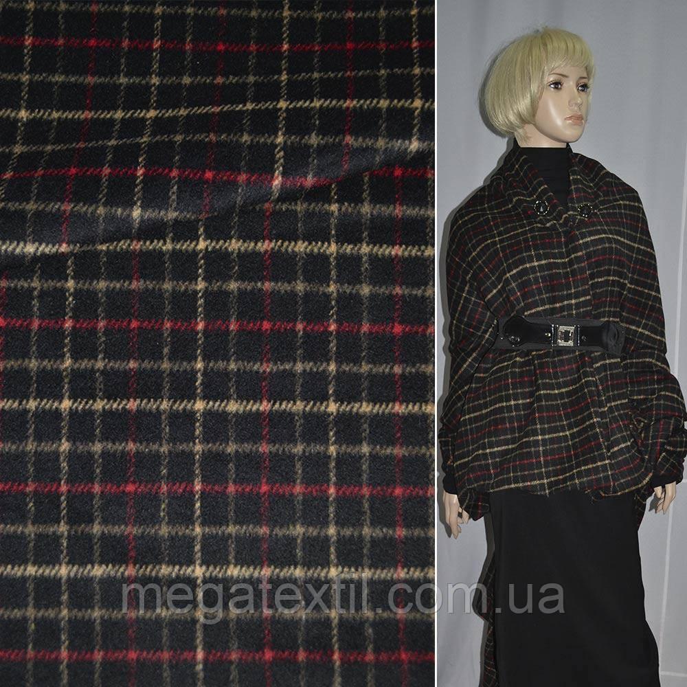 1c234efae2e01 Ткань пальтовая черная в красно-желтую клетку ш. 150 купить оптом и ...