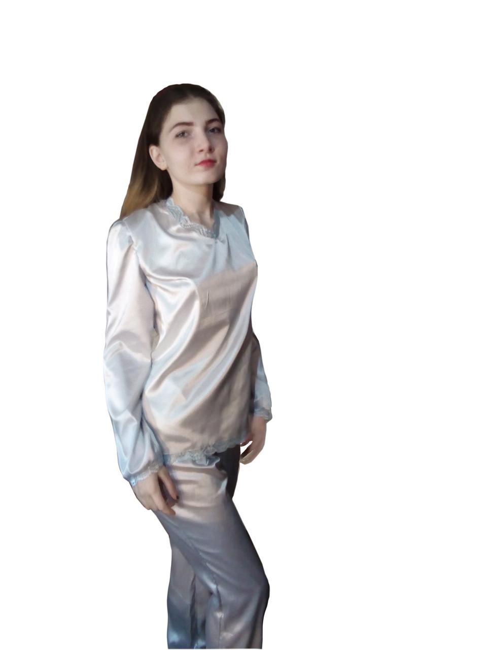 Пижама с кружевом, комплект из  атласа
