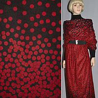 Ткань пальтовая черная с красными кругами на трикотажной основе ш.150 ( 13310.001 )