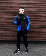 Комплект мужской зимний черно-синий Куртка короткая Штаны теплые Барсетка + перчатки в подарок!