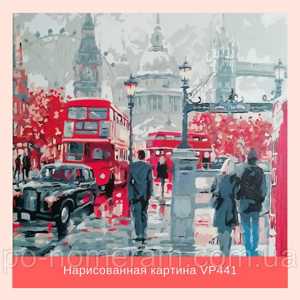 Раскраска Лондон, нарисованная акриловыми красками