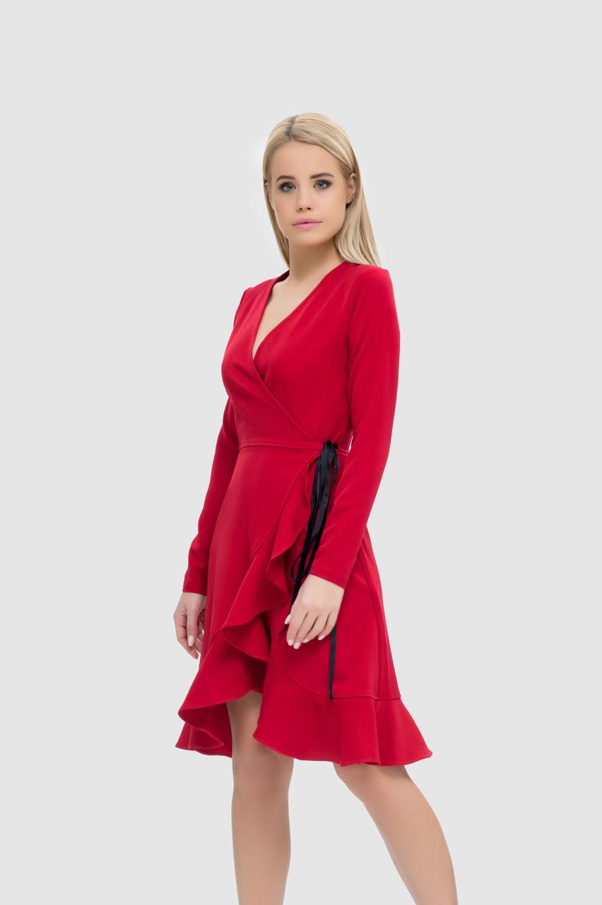 Платье на запахе с V-образным вырезом и воланом по подолу, фото 1