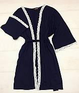 Синий домашний комплект пеньюар и халат, фото 4