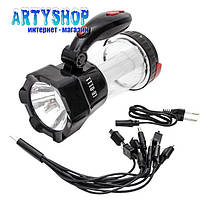 Фонарь аккумуляторный 1LED 1W + 12 LED INTERTOOL