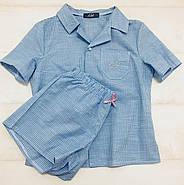 Голубая  пижама шорты рубашка в клетку, фото 8
