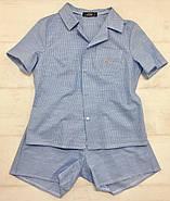 Голубая  пижама шорты рубашка в клетку, фото 9