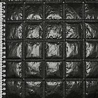 """Ткань плащевая стеганая черная блестящая """"квадраты"""" ш.143 (13601.002)"""