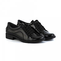 Туфли лаковые черного цвета на низком ходу со шнуровкой 2229L
