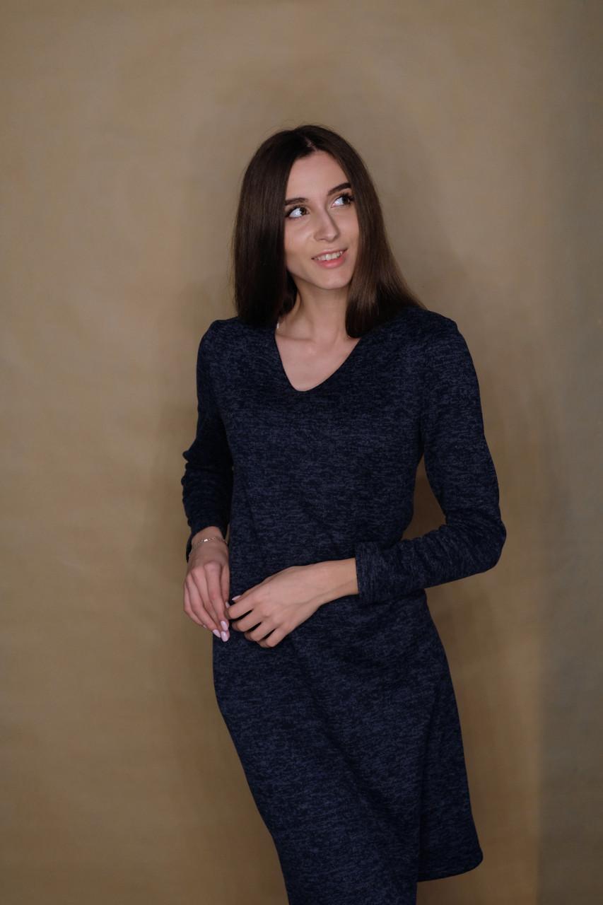 6476e0f1a9731ea Облегающее тёплое платье из ангоры на флисе с V-вырезом. Размер 42 ...