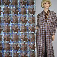 Ткань костюмная коричневая в квадрат и фиолетовые полосы ( 14120.002 )