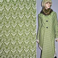 Тканина костюмна зелена з білим малюнком, ш.150 (14121.001)