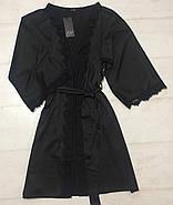 Черный шелковый халат с поясом, фото 2