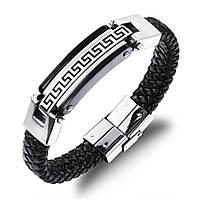 """Кожаный браслет """"Античный"""" со вставками из нержавеющей стали, цвет серебристо-черный, фото 1"""