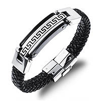 """Шкіряний браслет """"Античний"""" зі вставками з нержавіючої сталі, колір сріблясто-чорний, фото 1"""