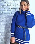 Женская теплая вязаная туника с полосками (в расцветках), фото 3