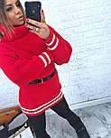 Женская теплая вязаная туника с полосками (в расцветках), фото 4