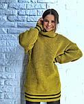 Женская теплая вязаная туника с полосками (в расцветках), фото 9