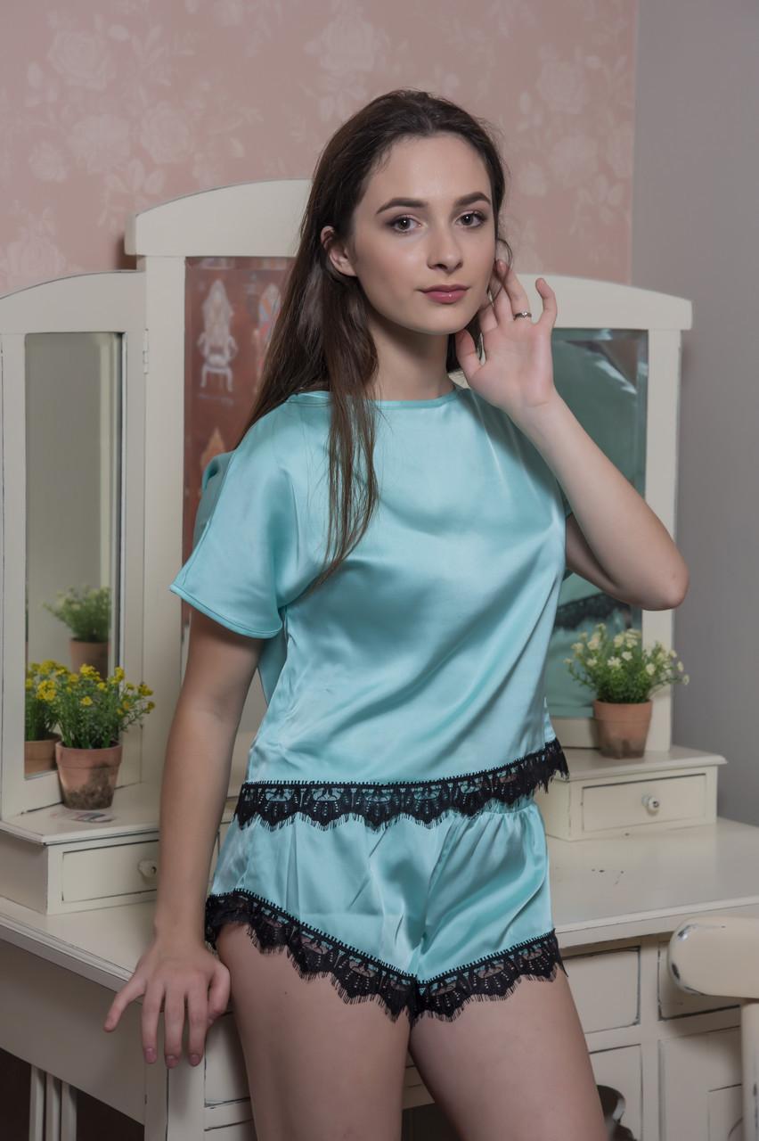 Шелковая пижама футболка и шортики