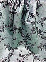 Бирюзовая портьера с люрексом, ширина 1,5 м, фото 1