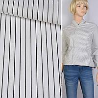 Поплин рубашечный белый в черную полоску 1*6мм ш.145 (14218.005)