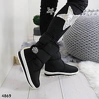 Высокие дутики черные женские снежинки р. 37 c0c6032691faa