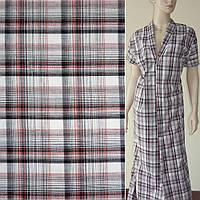 Тканина сорочкова біла в чорно-червону клітку ш.140 (14231.001)