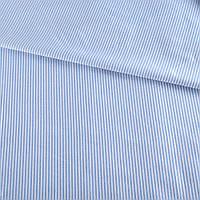 Ткань рубашечная* белая в голубую полоску 2мм, ш.140 ( 14233.001 )