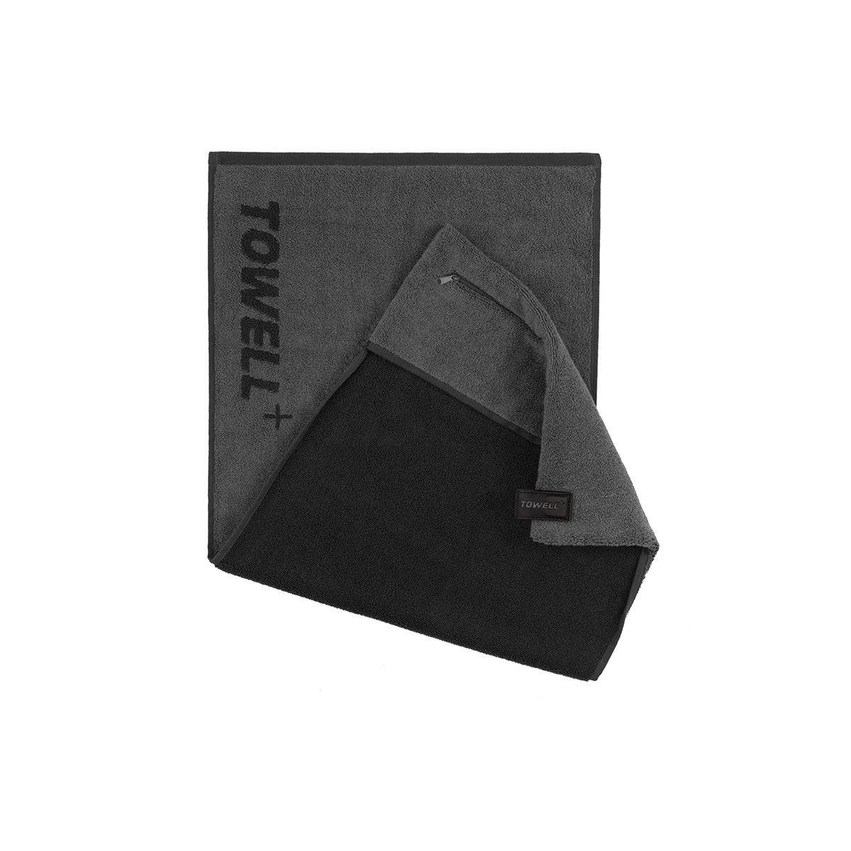 Многофункциональное спортивное полотенце TOWELL+ Серое-черное, КОД: 144454