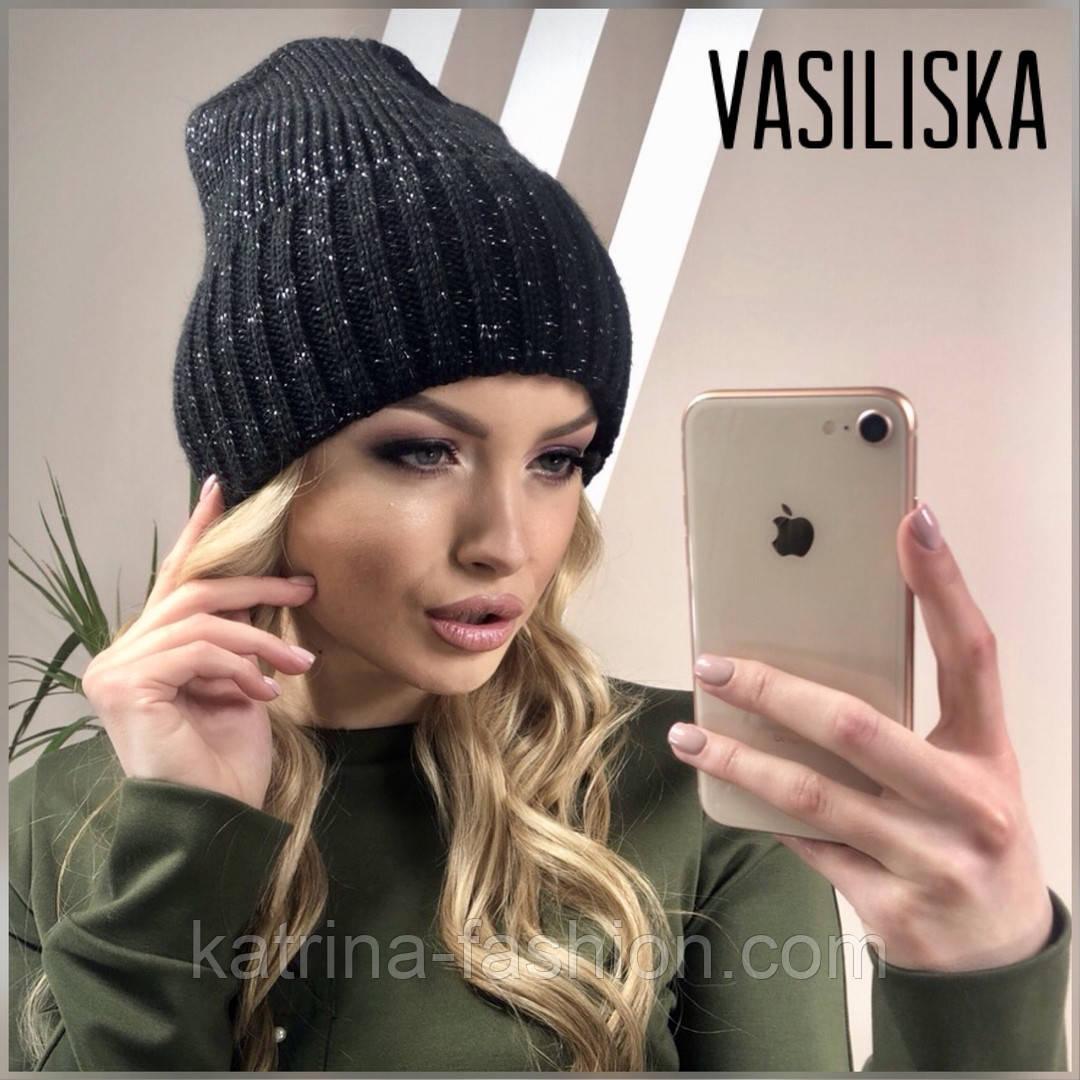 Женская стильная шапка вязаная в расцветках (8 цветов)