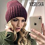 Женская стильная шапка вязаная в расцветках (8 цветов), фото 5