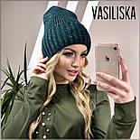 Женская стильная шапка вязаная в расцветках (8 цветов), фото 6
