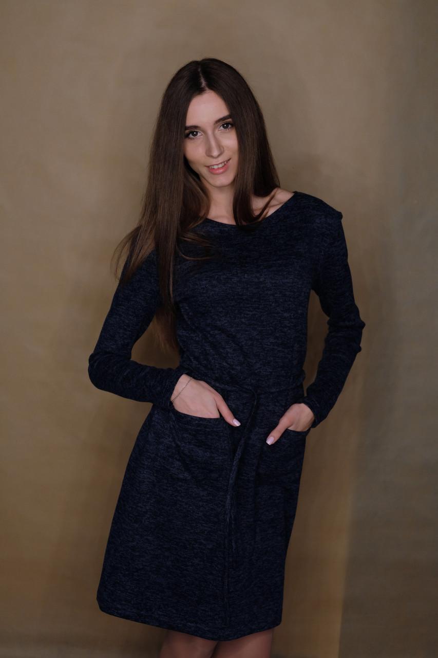 1cd0c6026b0 Женское Тёплое Платье Из Ангоры на Флисе. Размер 42-52. Цвет Синий ...