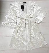 Білий халат велюровий з мереживом, фото 2