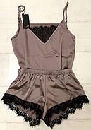 Нежный шелковый комплект с кружевом майка и шортики, фото 2