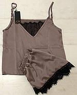 Нежный шелковый комплект с кружевом майка и шортики, фото 3