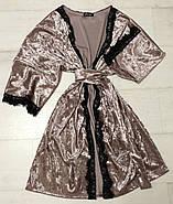 Велюровий комплект Халат майка шортики з мереживом, фото 4