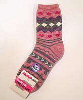 Женские полушерстяные махровые носки с рисунком розового цвета