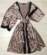 Велюровый комплект Халат майка шортики с кружевом, фото 3