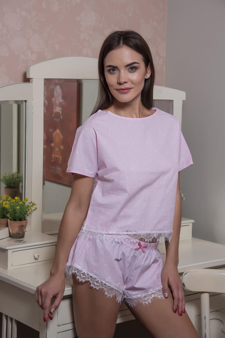 Хлопковая пижама футболка и шортики